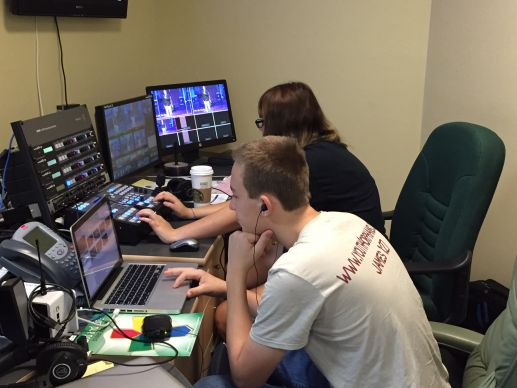 Zach Arco and Casey Dysert serve on the six-member team that produces and video streams live the worship services from North Naples United Methodist Church in Florida.