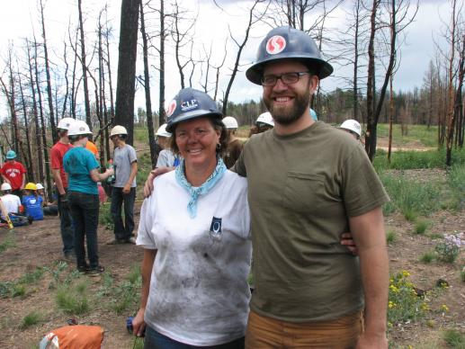 Cindy Klick and Matthew Graham take a break from their work during a mission trip with a group from St. Andrew United Methodist Church, Highlands Ranch, Colorado.