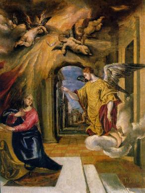 The Annunciation by El Greco -- the moment when an angel tells Mary that she will be the mother of Jesus.