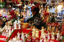 Angels fill a booth at a Christmas Market in Munich, Germany.