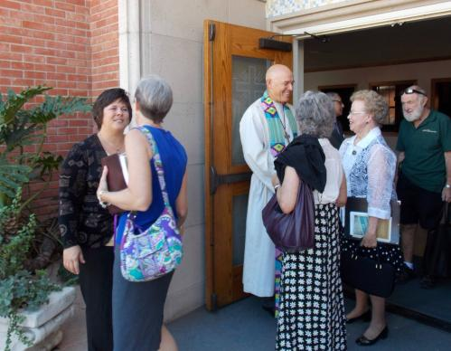 The Rev. William A. Johnson, creator of LIFT Renewal Ministries, greets people after services at First United Methodist Church in Orange, California.