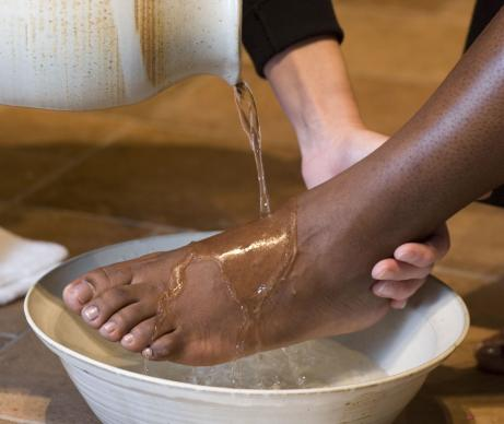 Holy Thursday footwashing at Belmont United Methodist Church, Nashville, Tenn.