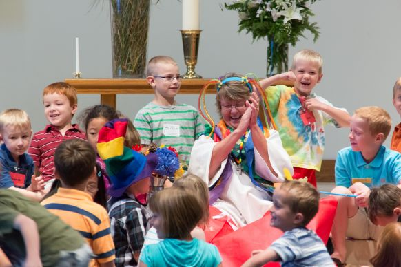 The Rev. Cindy Yanchury leads children's time at Advent United Methodist Church.