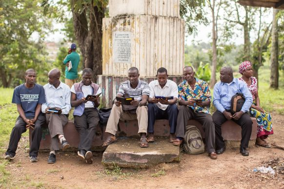 Students at Gbarnga School of Theology in Liberia explore their e-readers loaded with all the texts and reference books they will need for their seminary studies.