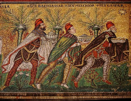 The magi follow the star in this sixth-century mosaic at the Basilica of Sant'Apollinare near Ravenna, Italy. Photo by Nina-no, courtesy Wikimedia Commons.