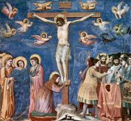 A fresco painting from the late Middle Age by Giotto di Bondone depicts the Crucifixion. On Good Friday, Christians around the world reflect on the meaning of Jesus' suffering and death. A web-only public domain image.