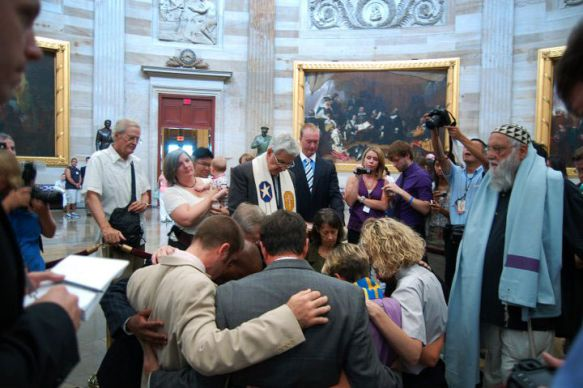 Eleven faith leaders were arrested after they refused to stop public prayers in the U.S. Capitol in July. The group agreed today to a pretrial resolution of the misdemeanor charges. Photo courtesy of Common Cause.
