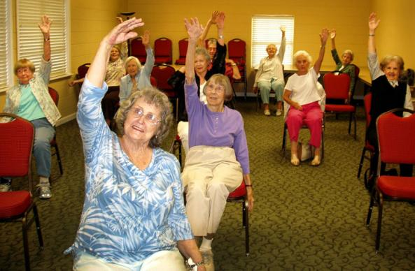 "Members of the ""Sittercize for the Saints"" group at Killearn United Methodist Church in Tallahassee, Fla., exercise in the Asbury ministry building."