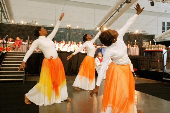 Dancers from Kapp N Kompany at Fort Street United Methodist Church in Atlanta perform during the opening worship. A UMNS photo by Mike DuBose.