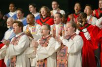 The Mass Choir of singers from nine United Methodist seminaries leads morning worship on Thursday, April 29, at the United Methodist Church's 2004 General Conference in Pittsburgh. A UMNS photo by Mike DuBose.