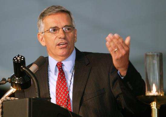 The Rev. R. Randy Day, top staff executive of the United Methodist Board of Global Ministries, addresses a session of the denomination's 2004 General Conference in Pittsburgh. A UMNS photo by Mike DuBose.