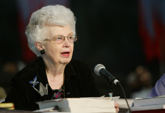 Carolyn M. Marshall, General Conference secretary, reads the decision of the United Methodist Judicial Council that the practice of homosexuality is a chargeable offense for clergy during the May 1 session of the denomination's 2004 General Conference in Pittsburgh. A UMNS photo by Mike DuBose.