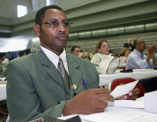 The Rev. Paul Matheri, traveled from his home in Naivasha, Kenya, to attend the 2004 United Methodist General Conference in Pittsburgh. A UMNS photo by Mike DuBose.