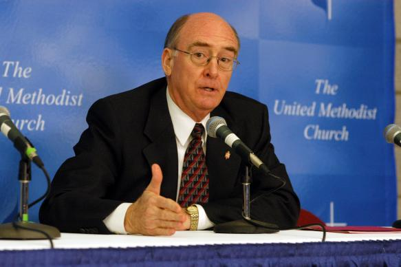 United Methodist Bishop Kenneth L. Carder answers questions during a press conference following the Episcopal Address at the 2004 General Conference in Pittsburgh. A UMNS photo by John C. Goodwin.
