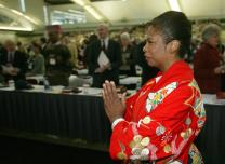 Celinda Hughes of Gordon Memorial United Methodist Church in Nashville, Tenn., dances during opening worship of the denomination's 2004 General Conference in Pittsburgh. A UMNS photo by Mike DuBose.