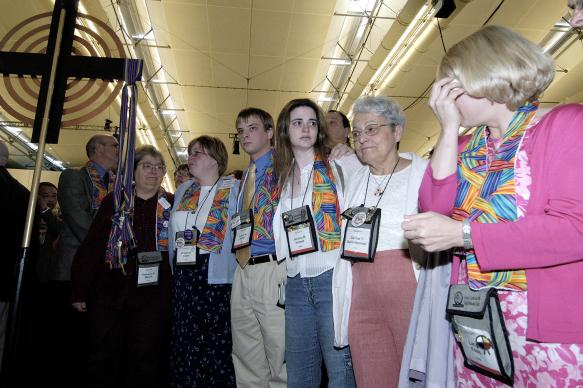 Supporters of gay men and lesbians mourn after delegates to the 2004 United Methodist General Conference in Pittsburgh voted to maintain language in the church's Discipline that the practice of homosexuality is