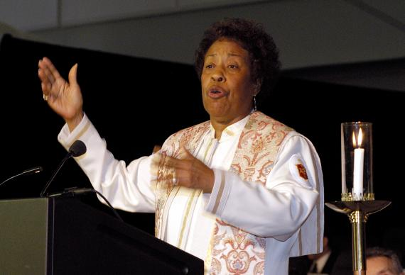 United Methodist Bishop Beverly J. Shamana, San Francisco Area, preaches during morning worship on May 5 at the 2004 United Methodist General Conference in Pittsburgh. A UMNS photo by Paul Jeffrey.