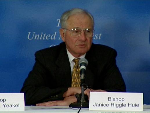 General Conference 2004: Press Conference, Judicial Council Decision #985. Video still by United Methodist Communications