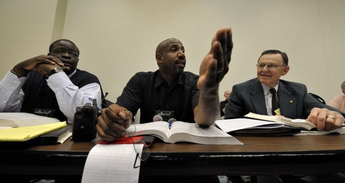Delegate Joseph Daniels of the church's Baltimore-Washington Area addresses a session of the Local Church legislative committee of the 2008 United Methodist General Conference.