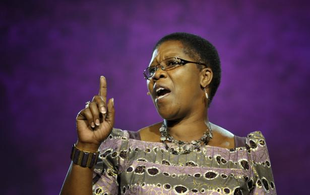 Betty Spiwe Katiyo of Zimbabwe delivers part of the Laity Address to an April 25 session of the 2012 United Methodist General Conference in Tampa, Fla.