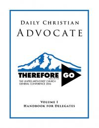 The Daily Christian Advocate contains legislation, rules, and other helpful information about General Conference.