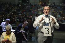 Douglas Palmer, a lay delegate from the Rocky Mountain annual conference, speaks to the United Methodist General Conference in Portland, Ore., on May 12. File  photo by Paul Jeffrey, UMNS.