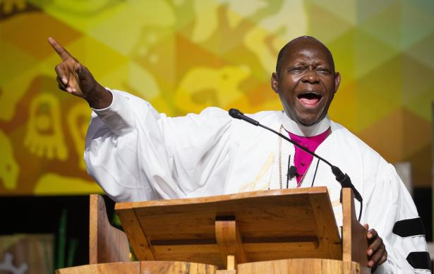 Bishop John Yambasu gives the sermon during morning worship May 19 at the 2016 United Methodist General Conference in Portland, Ore. Photo by Mike DuBose, UMNS
