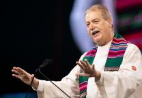 Bishop Kenneth H. Carter gives the sermon during opening worship for the 2019 United Methodist General Conference in St. Louis.