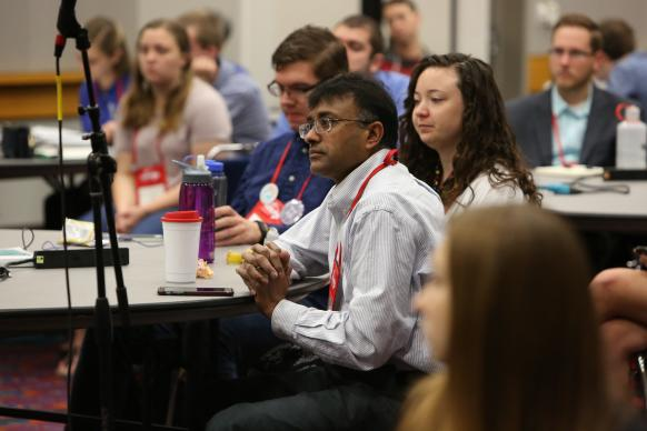 Seminary students ask questions of the Rev. Adam Hamilton during the seminary students briefing on May 17 at the 2016 United Methodist General Conference in Portland, Ore. Photo by Kathleen Barry, UMNS