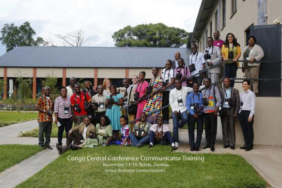 Participants in the training event gather for a photo outside their venue in Ndola, Zambia. Photo by Kathleen Barry, UMNS.