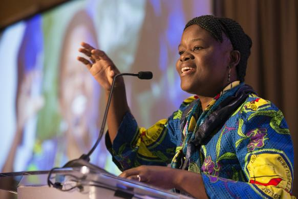 The Rev. Betty Kazadi Musau of the Democratic Republic of Congo gives the sermon during opening worship at the Game Changers Summit at the Opryland Hotel in Nashville, Tenn. Photo by Mike DuBose, UMNS.