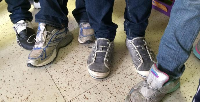 The Laredo (Texas) Humanitarian Relief Team is taking clothing donations as its helps with the sharp influx of Central Americans crossing the border. Requests include shoelaces, which the group says are needed since shoelaces are removed in detention. Photo courtesy Viky Garcia, Laredo Humanitarian Relief Team.