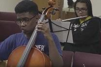 Musicians in the St. James United Methodist Church A-Flat Youth Orchestra in Kansas City rehearse.  Video image by United Methodist Communications.