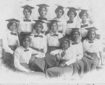 Female graduates of Philander Smith College in Arkansas are seen in archival image. Photo courtesy of United Methodist General Commission on Archives and History.