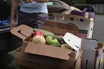 Vegetables from the farmer's market are saved from the trash by members of Metropolitan Memorial United Methodist Church. The church has a chef who turns surplus food into healthy meals for the hungry.