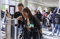 Students from Boise High School come for free coffee in the lobby of nearby Cathedral of the Rockies First United Methodist Church.