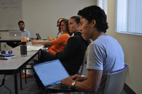 Students practice listening in class on Buddhist-Christian thought and spiritual care at the Claremont School of Theology in Claremont, Calif. Photo courtesy of Claremont School of Theology.