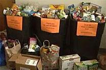 Items collected by the Highlands United Methodist Church during the United in Orange Food Drive in 2014. Photo courtesy of CBS4.