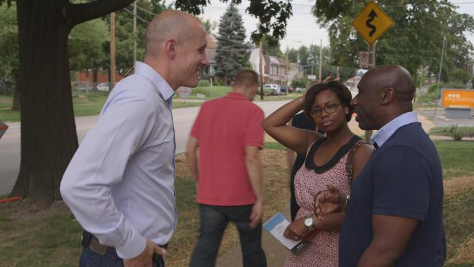 Pastors Matt Miofsky (left) and Willis Johnson talk after services at The Gathering United Methodist Church in St.  Louis, Missouri.