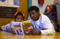 "A Freedom School volunteer reads with a young scholar at Summit on 16th United Methodist Church in Columbus, Ohio. Freedom Schools ""build strong, literate, and empowered children."" Photo by Gwen Kisker, United Methodist Communications."
