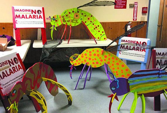 Brightly painted wooden mosquitoes helped publicize the Alaskan churches' Imagine No Malaria Lenten fundraising campaign. Photo courtesy of the Alaska United Methodist Conference.