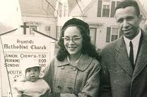 The Rev. Gilbert Caldwell poses with his wife Grace, and sons Dale and Paul in front of Bryantville United Methodist Church.