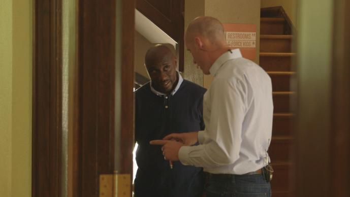 Pastors Willis Johnson (left) and Matt Miofsky (right) talk before services at The Gathering United Methodist Church in St.  Louis, Missouri.  Video image by United Methodist Communications.