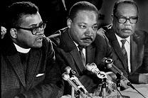 The Rev. James Lawson (left) joins Martin Luther King and Ralph Jackson at a March 1968 press conference. Photo used with permission from the SCLC of California.