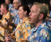 The ukulele choir from Grace Avenue United Methodist Church in Frisco, Texas, plays during the 2016 United Methodist General Conference in Portland, Ore. Photo by Mike DuBose, United Methodist Communications.