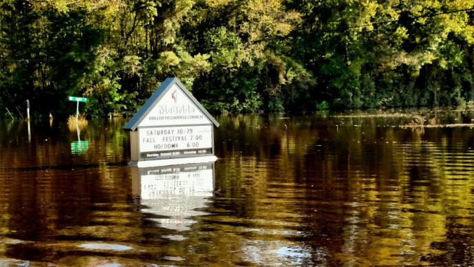 McBride United Methodist Church in South Mills, NC, experienced severe flooding in the aftermath of Hurricane Matthew in October, 2016. Photo by United Methodist Communications.