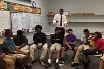 Former NBA player Shan Foster mentors a group of teens in partnership with the YWCA and United Methodist Men. Photo courtesy of Shan Foster.