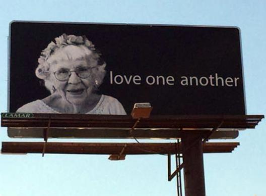 Shirley Bachelder's image, at age 95, appeared on billboards around Nashville, Tenn. in April 2016. Photo by Stacey Hagewood, United Methodist Communications.