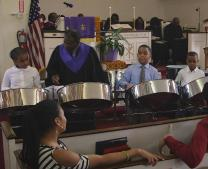 Members of the Steel Pan Ministry at Westchester United Methodist Church in New York perform during a worship service. Video image by United Methodist Communications.