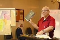 Retired Army chaplain, the Rev. Bill Libby teaches a Sunday school class for fellow veterans at St. Paul United Methodist Church. Video image by United Methodist Communications.
